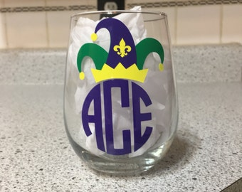 Monogram Mardi Gras Stemless wine glass