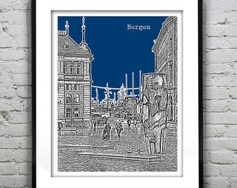Bergen Norway Skyline Poster Art Print Version 2