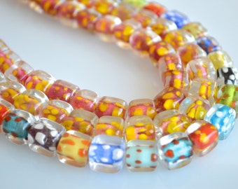 Cube Shape With Dots Lampwork Glass Beads Size Approx.10x10x10mm Full Strands