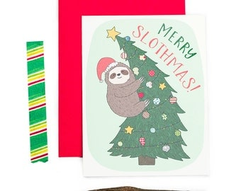Sloth Card, Funny Christmas Cards, Cute Sloth, Sloth Gift, Sloth Lover, Holiday Card, Gift For Best Friend, Girlfriend Card, Tis The Season
