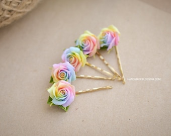 Pastel rainbow roses hairpin, Polymer clay rose hair pin, Pale rainbow rose flowers, Tie dye rose bobby pin, Rainbow hair accessories