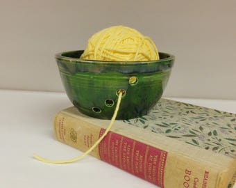 Green Blue Yarn Bowl, Knitting, Crocheting