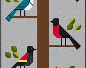Birds of a Feather Quilt Pattern, PDF, Instant Download, forest, cardinal, blue jay, red winged black bird, robin, woodpecker