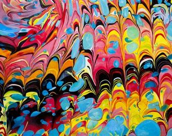 "Abstract Rainbow Acrylic Painting Print 10"" x 10"" or 11"" x 11"""