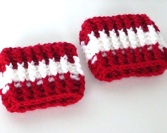Boot Cuffs, Crochet Red and White, Leg Warmers, Boot Socks, Boot Toppers