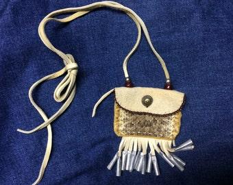 Rattlesnake Skin & Elk Leather Medicine Bag