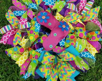 Flip Flop Summer Wreath, Ready to Ship, Burlap Deco Mesh, Lime,Pink Purple Orange Wreath,