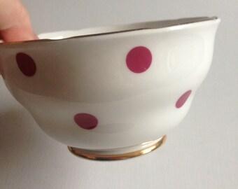 Vintage Royal Vale bone china sugar bowl with burgundy raspberry  polka dot pattern