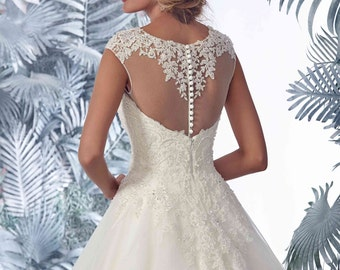 Bridal Lace Dress - Pallavi / B Chapel Train Dress Lace Dress - Long Tulle Wedding Dress - Elegant Wedding Dress - Unique Wedding Dress
