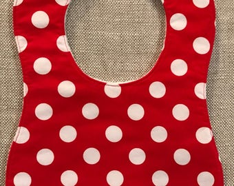 Baby Bib in Michael Miller Gnomeville Red and White Polka Dot