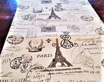 Table Runner, Black Script Table Linen, French Eiffel Tower, Table Cloth/Scarf, French, Banquet, 16''x 72'' Buffet Runner, Dresser Scarf