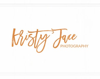 Premade Photography Dusty Gold Logo + Watermark - Handwritten Logo - Modern Logo - L018