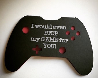 I love you card, X-box game lover card, Valentine's Day Card, Game controller card, glittery heart, Love card, Game party invite, lovers