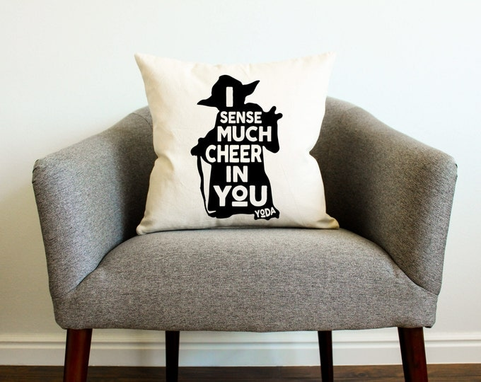 "Christmas Star Wars Yoda ""I Sense Much Cheer In You"" Pillow - 2 colors"