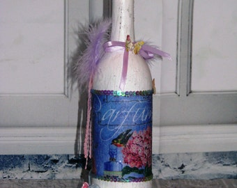 Altered Wine Bottle,  Distressed Chalk White, Shabby Chic Decorated Bottle