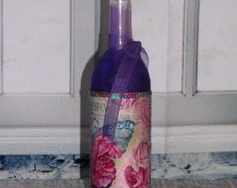Altered Wine Bottle, Shabby Chic, Decorated Purple, Vintage Glassware, Home and Living, Home Decor, Ornaments and Accents