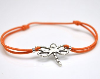 Dragonfly bracelet orange cord