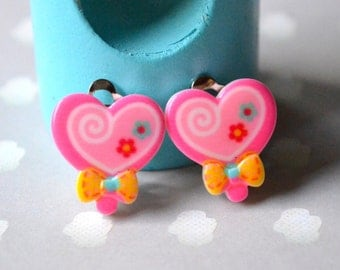 Pink candy clips earrings