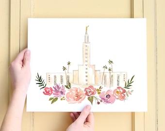 Los Angeles, California LDS Temple Watercolor Print/ Mormon Temple