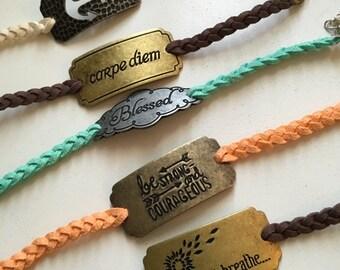Braided Suede Charm Bracelet