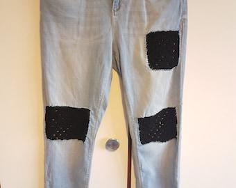 Topshop crochet patch jeans W30 L32