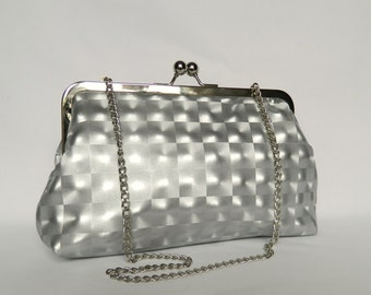 Holographic Silver Clutch, Silver Clutch, Metallic Silver Clutch, Party Clutch, Evening Clutch, Ladies Gift, Handmade UK