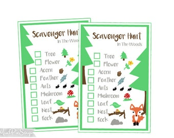 Printable Nature Scavenger Hunt Game Cards - Woods Camping Party / Instant Download