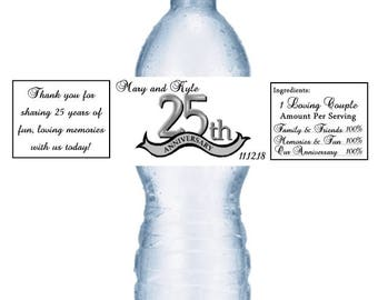 21 25th Anniversary Water Bottle Labels