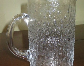 Vintage Iittala Hopla Glass Pitcher , Tapio Wirkkala , Scandinavian Glass