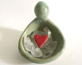 Green Goddess Pottery Bowl, Tea Light Candle Holder, Altar Gem Stone Dish, Ring Bowl