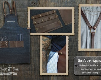 Barber Apron with dark brown leather parts, (Selvedge Denim, handmade) with pockets for shears and combs. Very comfortable to wear all day