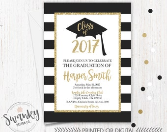 Graduation Invitation, Black and Gold Graduation Party, High School Graduation Invite, College Graduation Invitation, Gold Glitter Invite