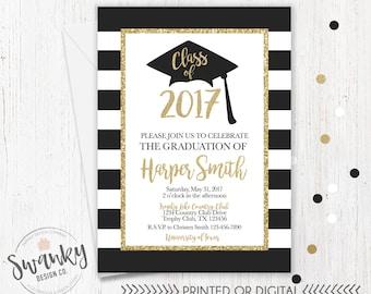 Graduation Invitation, Black and Gold Graduation Party, High School Graduation Invite, College Graduation Invitation, Gold Glitter Invite