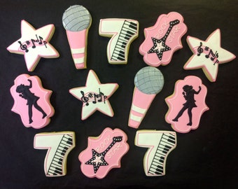 Girly Rock Star Cookie Favors for Birthdays, Rock Star Cookies, Music Theme Cookies for Birthdays, Girls Birthday Party Favors