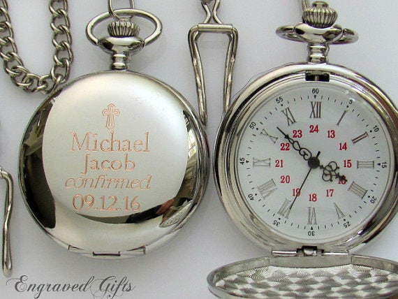 Engraved Pocket Watch Confirmation Gift For Boy Personalized
