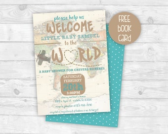 welcome to the world baby shower invitation printable baby shower invitation gender neutral map