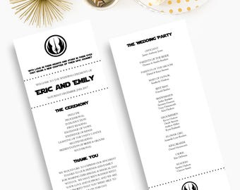 Star Wars Wedding Programs, Disney Wedding Programs, Fairytale Wedding, Order of Service, Wedding Ceremony Cards