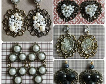 Victorian Elegant Earrings Handmade  with Vintage materials and Crystals YOU PICK!