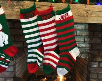 Hand knit Stripe Christmas Stockings