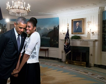 Michelle Obama with President Barack Obama, Hugging