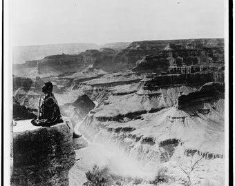 Grand Canyon National Park, Native American Indian, Sitting on Edge, Old Photo