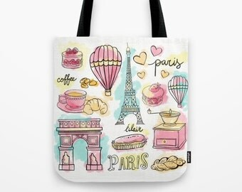 Paris Elements Tote Bag, Tote bag, Beach Bag, Grocery Sack, Library Tote, Shoulder Bag, Travel Bag, Bag
