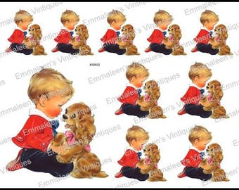 Vintage Shabby Retro Little Boy and His Dog Waterslide Decals~ KID652