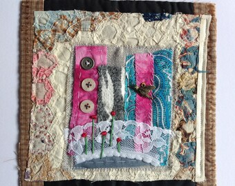 Bird - Textile / fibre / embroidered / stitched wall art collage. Original appliqué and embroidery.