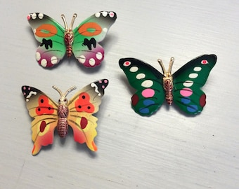 Vintage Butterfly Brooch Trio // Made in Korea 1960s