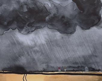 Dark Clouds over golden Wheat Fields - watercolor, original painting