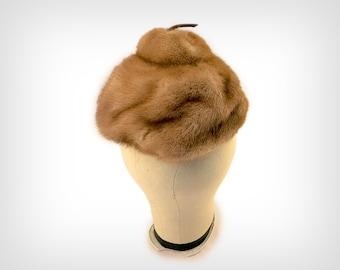 """50s Hat // 1950's Brown Mink """"Acorn"""" Beret"""