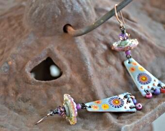 mixed media glass art wire wrapped boho style statement dangle gypsy sky earrings . . .