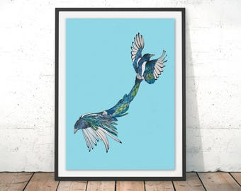 Magpie Print Magpie Wall Art Two For Joy Bird Print Gift for New Home Art Bird Illustration Magpie Wall Decor by Paul Robbins
