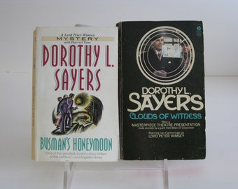 Vintage Dorothy Sayers Lord Peter Wimsey mystery thriller books-set of 2, Clouds of Witness and Busman's Honeymoon PB